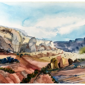 (CreativeWork) The valley of rocks - an Australian style  by Caroline Deeble. watercolour. Shop online at Bluethumb.