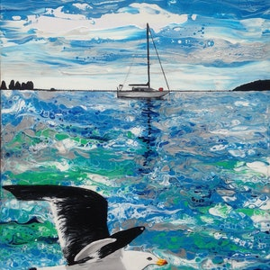 (CreativeWork) Observing Pacific Gull by Wendy Williams. arcylic-painting. Shop online at Bluethumb.