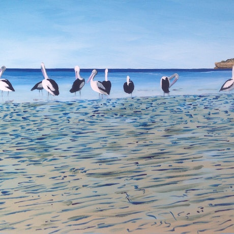 (CreativeWork) Waiting for the mullet run. by Wendy Williams. Acrylic Paint. Shop online at Bluethumb.