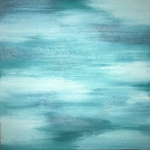 "(CreativeWork) ORIGINAL ABSTRACT ART PAINTING ON STRETCHED CANVAS  ""CALM VIBES"" MINT TEAL GREEN METALLIC TEXTURE  by Debra Ryan. mixed-media. Shop online at Bluethumb."