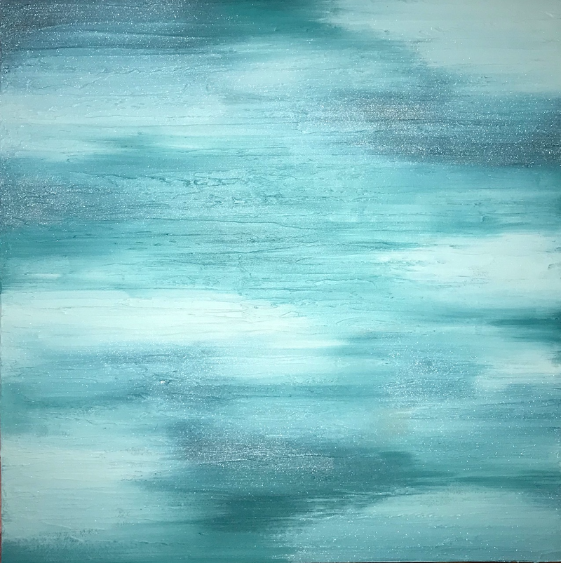 """(CreativeWork) ORIGINAL ABSTRACT ART PAINTING ON STRETCHED CANVAS  """"CALM VIBES"""" MINT TEAL GREEN METALLIC TEXTURE  by Debra Ryan. mixed-media. Shop online at Bluethumb."""