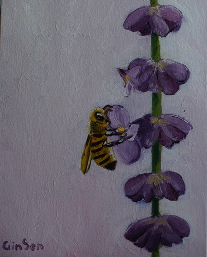 (CreativeWork) Purple Bee by Gin Sen. oil-painting. Shop online at Bluethumb.