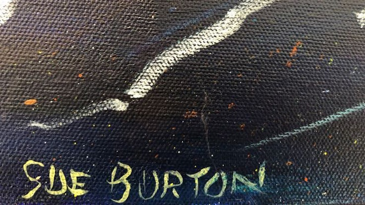 (CreativeWork) Moon's reflection by Sue Burton. Acrylic Paint. Shop online at Bluethumb.