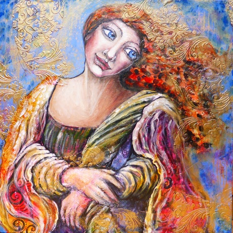(CreativeWork) Woman in Blue and Gold by Cheryle Bannon. Mixed Media. Shop online at Bluethumb.