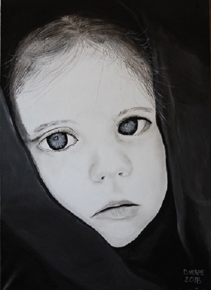 (CreativeWork) Little Girl In Hoodie by Dennis Heape. arcylic-painting. Shop online at Bluethumb.