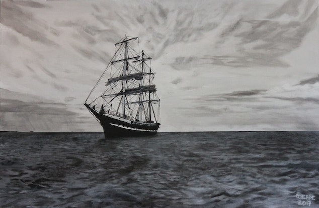 (CreativeWork) The Square Rigger by Dennis Heape. Acrylic Paint. Shop online at Bluethumb.