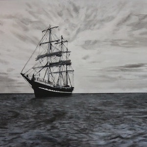 (CreativeWork) The Square Rigger by Dennis Heape. arcylic-painting. Shop online at Bluethumb.