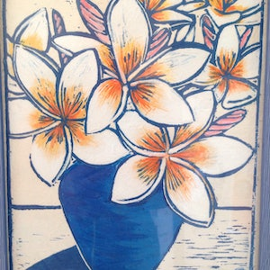(CreativeWork) Frangipani in hand blown vase 5/20 by Wendy Williams. other-media. Shop online at Bluethumb.