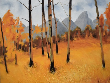 (CreativeWork) Fiery Autumn by Paul Renals. oil-painting. Shop online at Bluethumb.