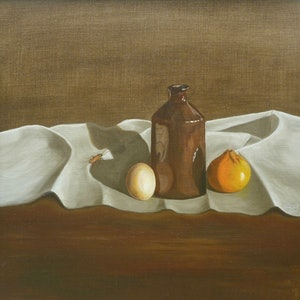 (CreativeWork) Still life with cockroach by Tom Koch. oil-painting. Shop online at Bluethumb.