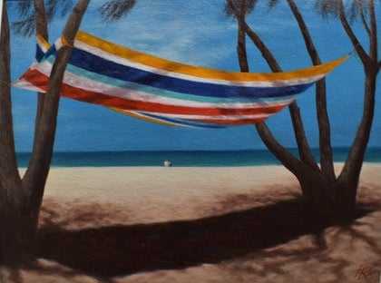 (CreativeWork) Sunny coast by Paul Renals. oil-painting. Shop online at Bluethumb.