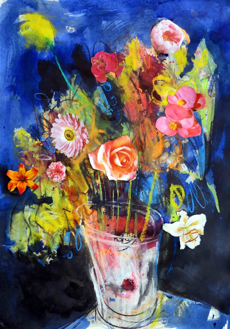 (CreativeWork) Flowers in a vase  by John Graham. mixed-media. Shop online at Bluethumb.