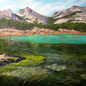 (CreativeWork) A Many Coloured Coast. Freycinet. Seascape.  by Lindy Whitton. acrylic-painting. Shop online at Bluethumb.