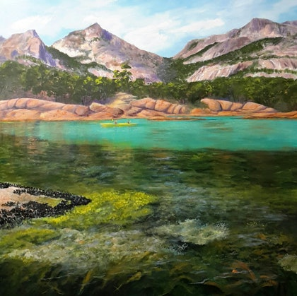 (CreativeWork) A Many Coloured Coast. Freycinet. Seascape.  by Lindy Whitton. arcylic-painting. Shop online at Bluethumb.