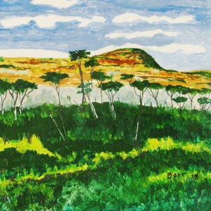 (CreativeWork) scrubby Peak by Andrew BARR. oil-painting. Shop online at Bluethumb.