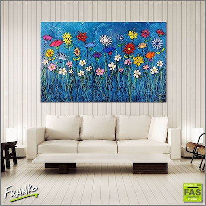 (CreativeWork) Teal Bloom 160cm x 100cm (full texture with gloss finish)  by _Franko _. Acrylic Paint. Shop online at Bluethumb.