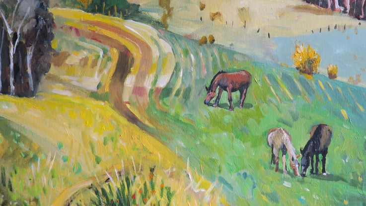(CreativeWork) Grazing Horses  by Susan Trudinger. Acrylic Paint. Shop online at Bluethumb.
