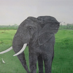 "(CreativeWork) Elephant On The Plains"" by Dennis Heape. arcylic-painting. Shop online at Bluethumb."
