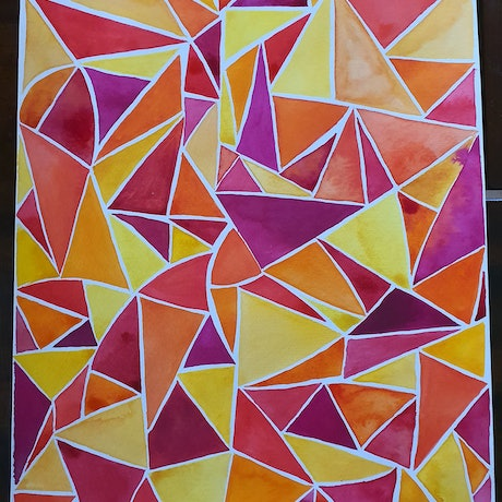(CreativeWork) Triangle Love by Deanne Dawes. Watercolour Paint. Shop online at Bluethumb.