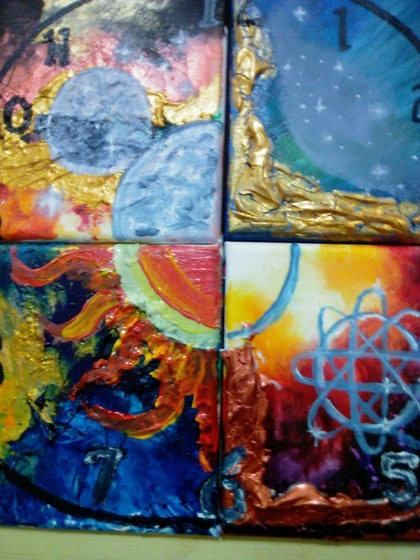 (CreativeWork) Quadrant of Time  by Lynette Carroll. arcylic-painting. Shop online at Bluethumb.