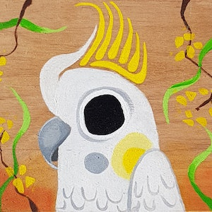 (CreativeWork) Cockatea for two by Jacq Cronin. arcylic-painting. Shop online at Bluethumb.