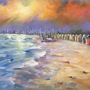 (CreativeWork) Last light upon BRIGHTON BEACH by Ivana Pinaffo. arcylic-painting. Shop online at Bluethumb.
