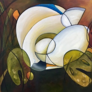 (CreativeWork) Sleeping swan by Tony Yallop. oil-painting. Shop online at Bluethumb.
