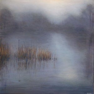 (CreativeWork) Fog over water by Nigel Gillings. arcylic-painting. Shop online at Bluethumb.