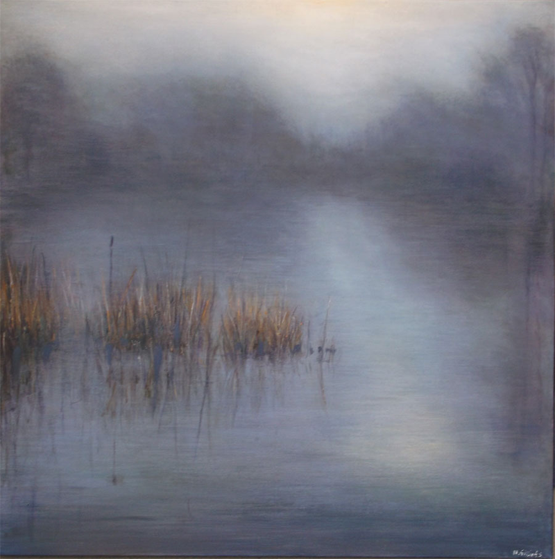 (CreativeWork) Fog over water by Nigel Gillings. Acrylic Paint. Shop online at Bluethumb.