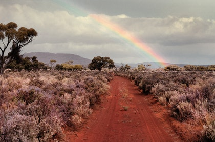 (CreativeWork) Rainbow on Barngala by Alex Frayne. photograph. Shop online at Bluethumb.
