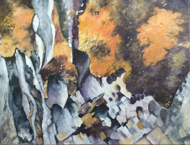 (CreativeWork) Sharp Rocks by Carolynne Mcintyre. oil-painting. Shop online at Bluethumb.