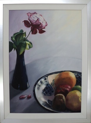 (CreativeWork) Flower and Fruit. Nature's Bounty. by Graeme Symons. Oil Paint. Shop online at Bluethumb.