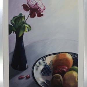(CreativeWork) Flower and Fruit. Nature's Bounty. by Graeme Symons. oil-painting. Shop online at Bluethumb.