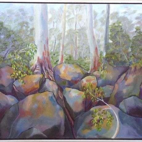 (CreativeWork) West Point. Cezanne's Rocks Among The Gum Trees. by Graeme Symons. Oil Paint. Shop online at Bluethumb.