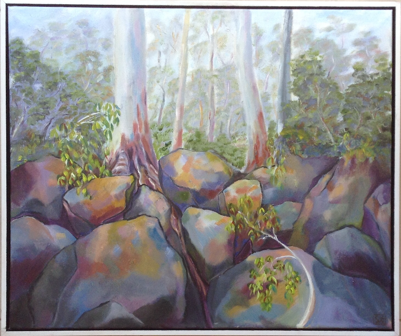 (CreativeWork) West Point. Cezanne's Rocks Among The Gum Trees. by Graeme Symons. oil-painting. Shop online at Bluethumb.