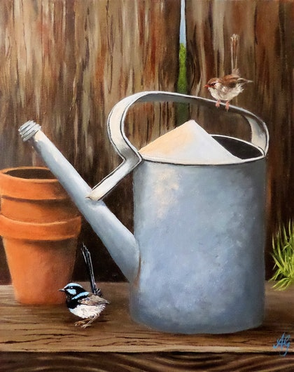 (CreativeWork) WaterWren Can by Anne Gardner. arcylic-painting. Shop online at Bluethumb.