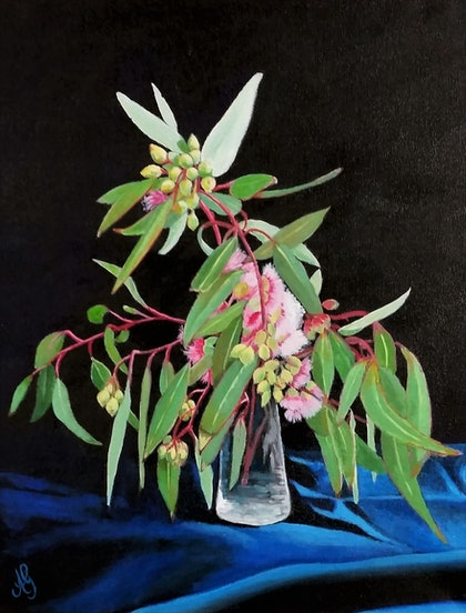 (CreativeWork) Pink Flowering Gum by Anne Gardner. arcylic-painting. Shop online at Bluethumb.