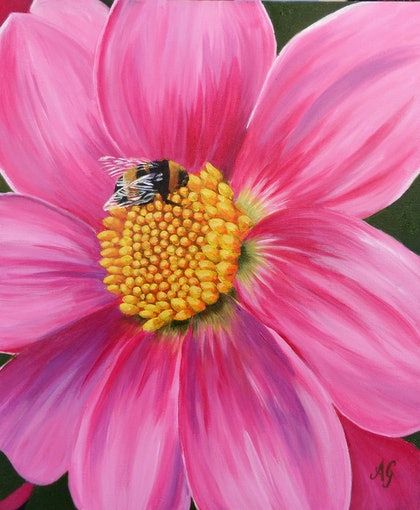 (CreativeWork) Bee-u-tiful by Anne Gardner. arcylic-painting. Shop online at Bluethumb.