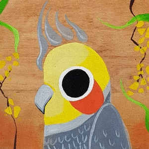 (CreativeWork) Cockatea for two - II by Jacq Cronin. arcylic-painting. Shop online at Bluethumb.