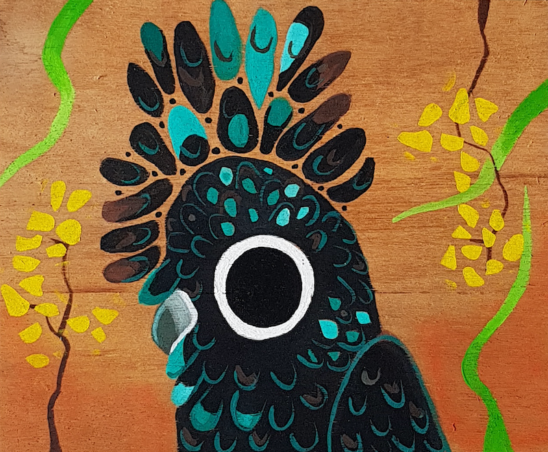 (CreativeWork) Turquoise feathers waiting for the rain to stop by Jacq Cronin. arcylic-painting. Shop online at Bluethumb.