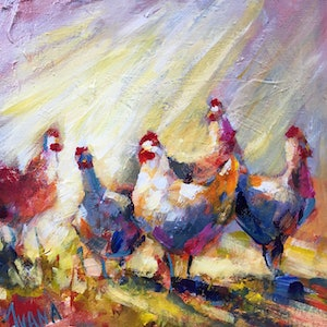 (CreativeWork) Chooks #3 by Ivana Pinaffo. arcylic-painting. Shop online at Bluethumb.