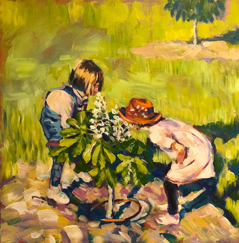 Kids and Chestnut by Valentyna Crane. Paintings for Sale. Bluethumb ...