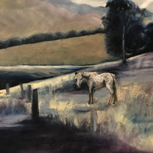 (CreativeWork) Out to Pasture by Patrice Wills. oil-painting. Shop online at Bluethumb.