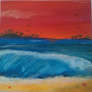 (CreativeWork) 'Hawaiian Breeze' by Tessara Brown. arcylic-painting. Shop online at Bluethumb.
