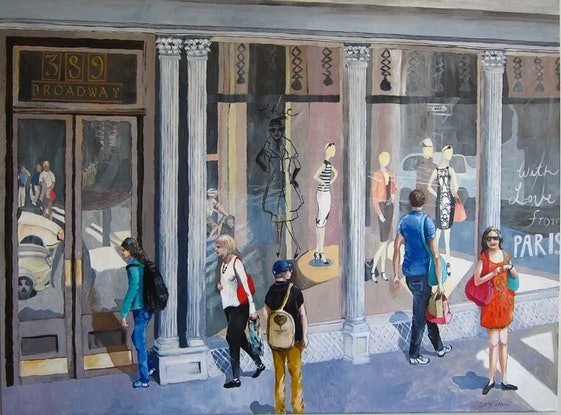 (CreativeWork) Shopping In Soho, New York City by Christine McLean. Acrylic Paint. Shop online at Bluethumb.