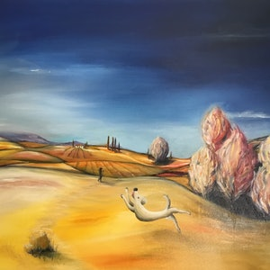 (CreativeWork) Tuscan evening by Tony Yallop. oil-painting. Shop online at Bluethumb.