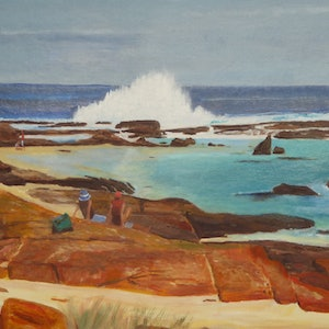 (CreativeWork) Watching the Waves by Robin Tunnicliffe. oil-painting. Shop online at Bluethumb.