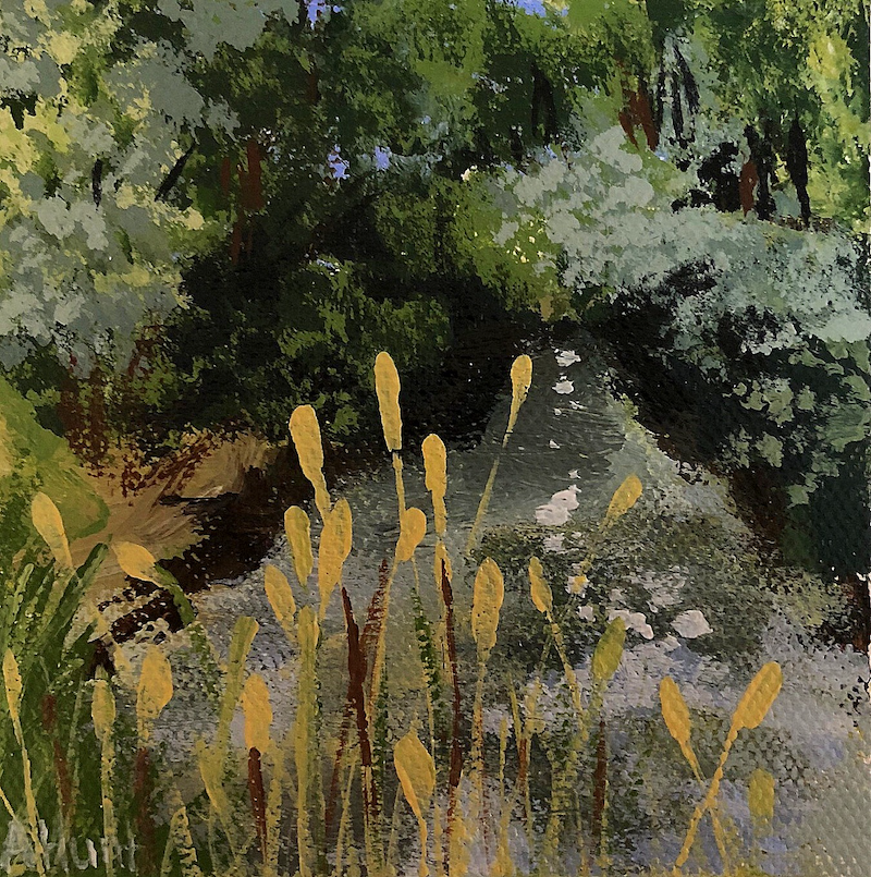 (CreativeWork) Down The Creek by Amanda Hunt. arcylic-painting. Shop online at Bluethumb.