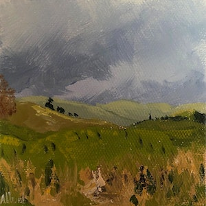 (CreativeWork) Rolling Hills by Amanda Hunt. arcylic-painting. Shop online at Bluethumb.