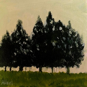 (CreativeWork) Trees in the Mist by Amanda Hunt. arcylic-painting. Shop online at Bluethumb.